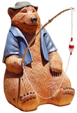 Carved Wooden Bear - Fishing