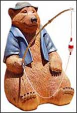 Carved Wooden Bear, Fishing Bear