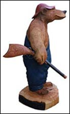 Wood Carved Bear - Hunting Bear