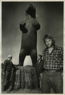 R.L. Blair with 16 ft tall Bear