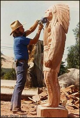 R.L. Blair carving Indian Chief