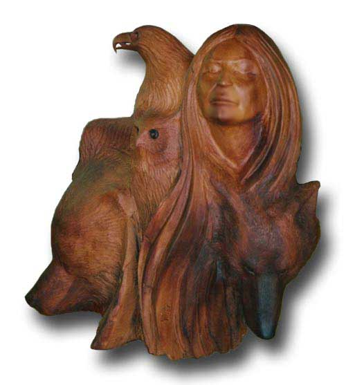 Wildlife Sculpture Woman Carving