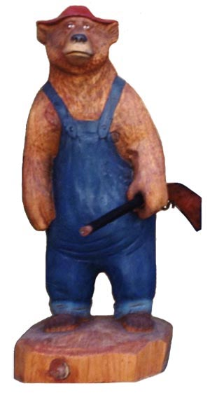 Brand new Hunting Bear Carving - Carved Wooden Bears BL17